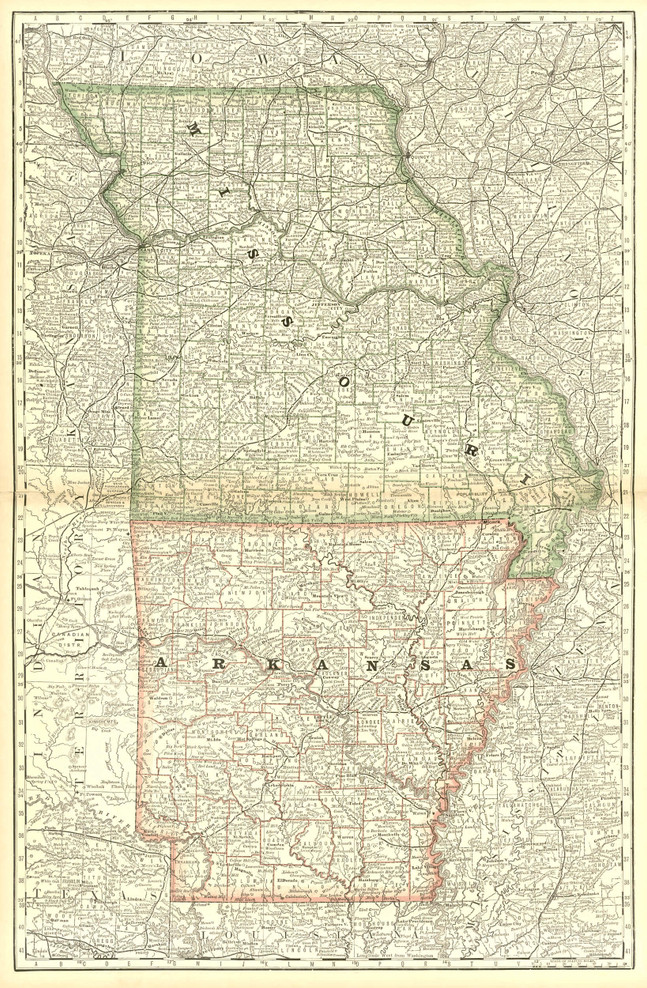 Historical Railroad Map of Missouri & Arkansas - 1878