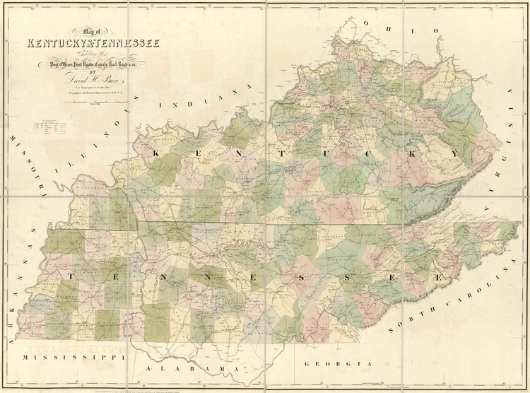 Historic Railroad Map of Kentucky & Tennessee - 1839