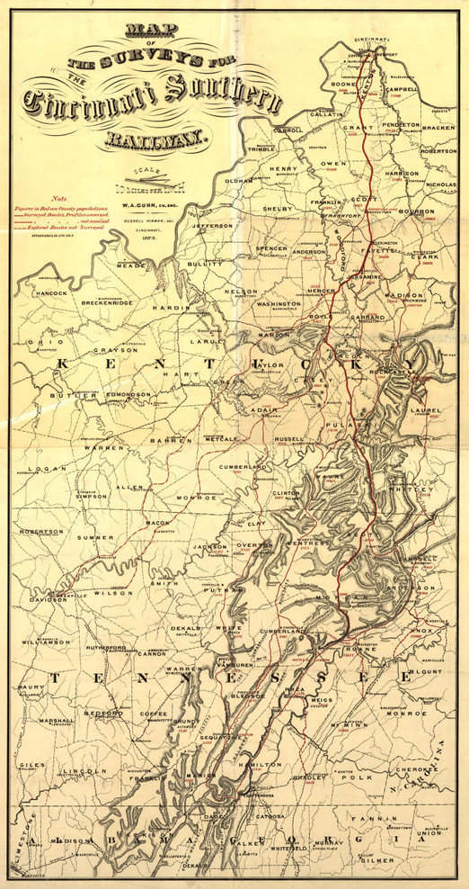 Historic Railroad Map of Kentucky & Tennessee- 1873