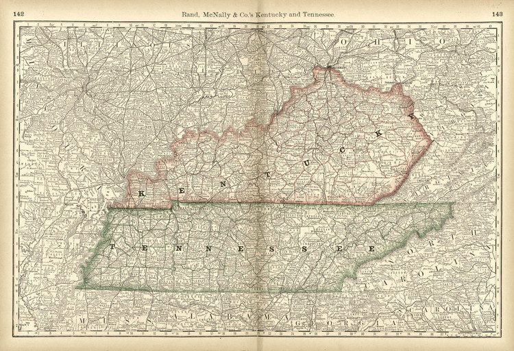 Historical Railroad Map of Kentucky & Tennessee - 1878