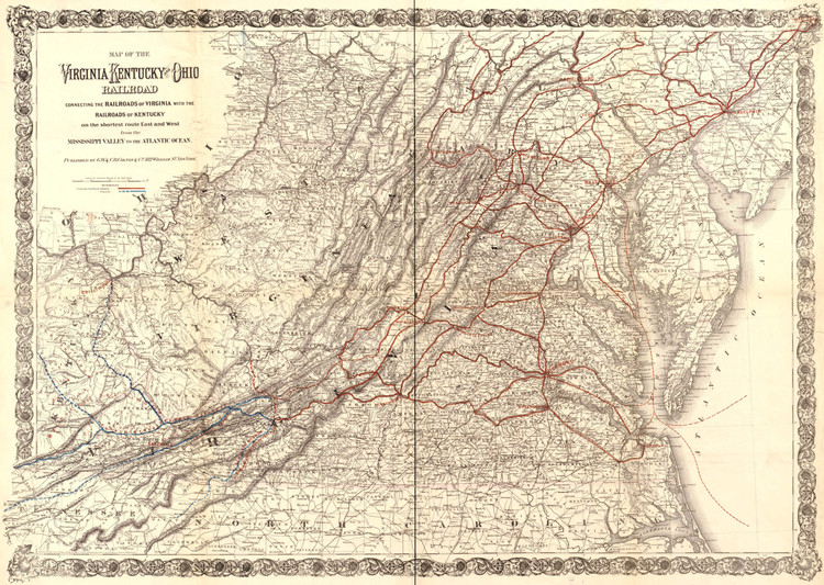 Historic Railroad Map of Kentucky, Virginia & West Virginia - 1881