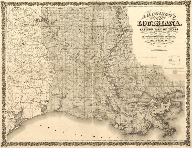 Historic Railroad Map of Louisiana - 1863