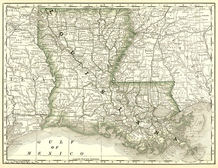 Historical Railroad Map of Louisiana - 1878