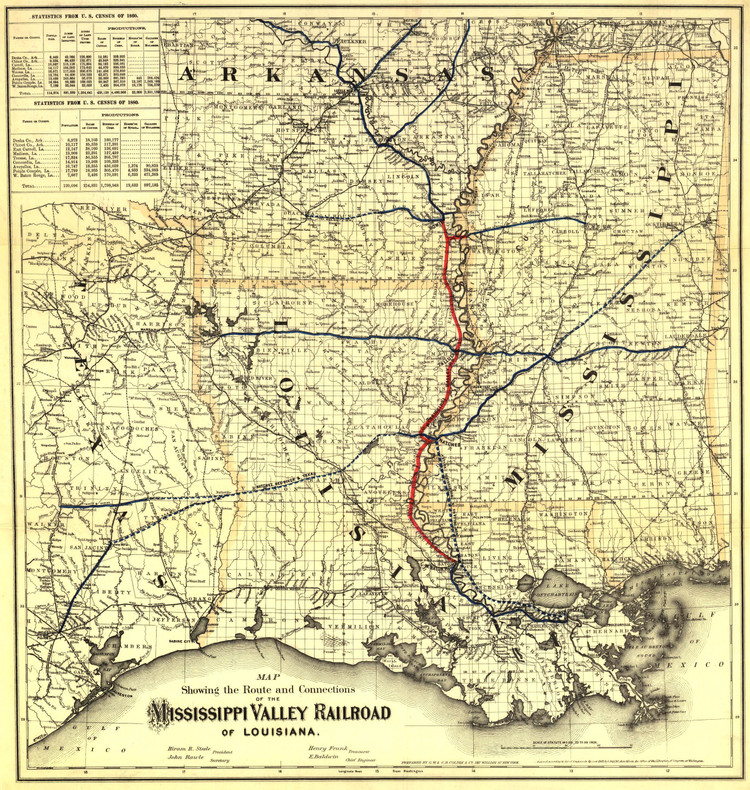 Historic Railroad Map of the Mississippi Valley Railroad - 1882