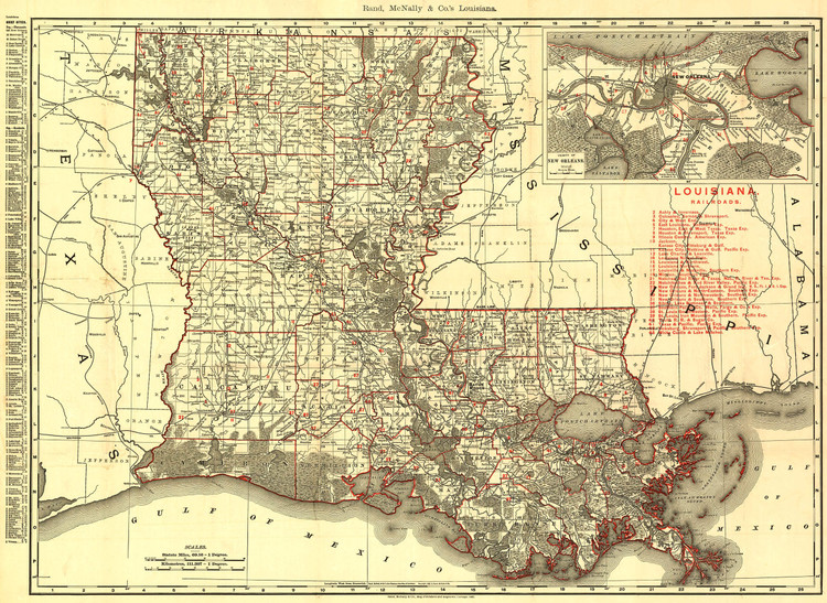 Historic Railroad Map of Louisiana - 1896