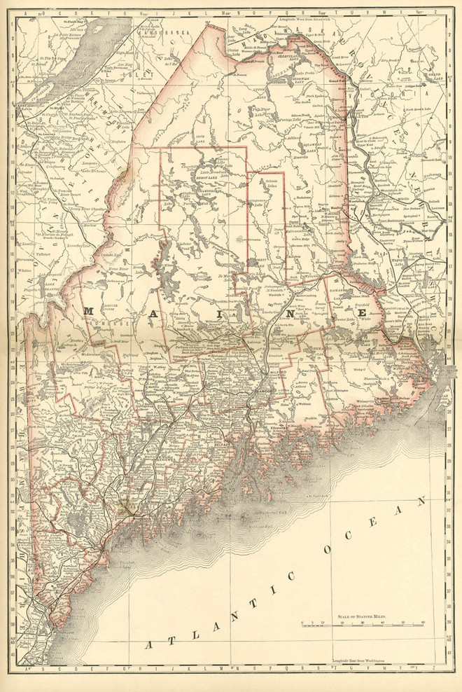 Historical Railroad Map of Maine - 1878