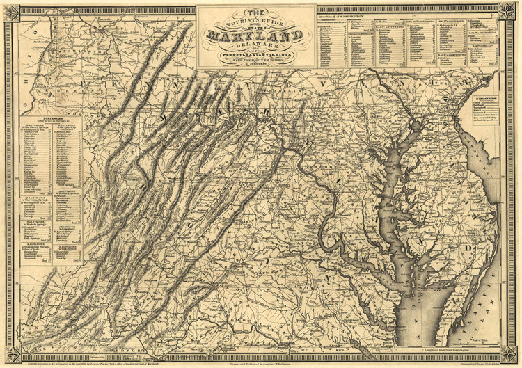 Historic Railroad Map of Maryland & Delaware - 1836