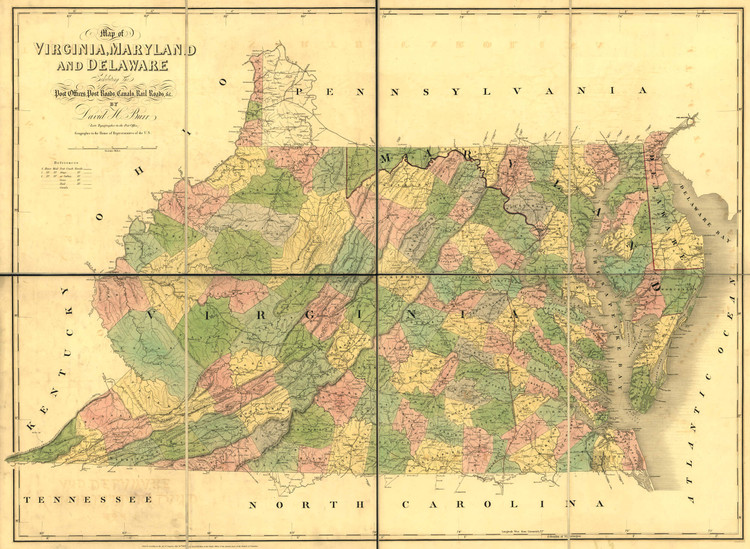 Historic Railroad Map of Virginia, Maryland and Delaware - 1839