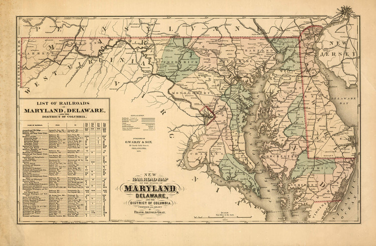 Historic Railroad Map of Maryland & Delaware - 1876