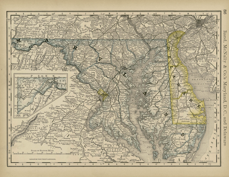 Historical Railroad Map of Maryland & Delaware - 1878