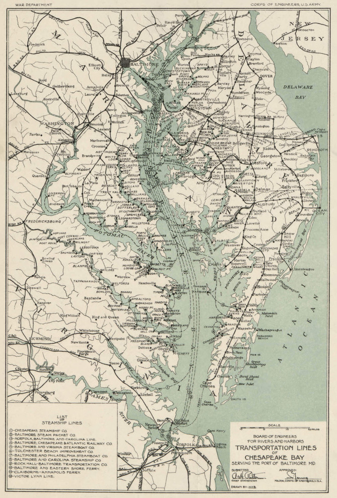 Historic Railroad Map of Maryland & Virginia - 1926