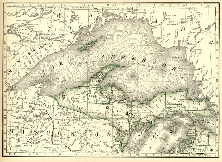 Historical Railroad Map of Michigan featuring Late Superior - 1878