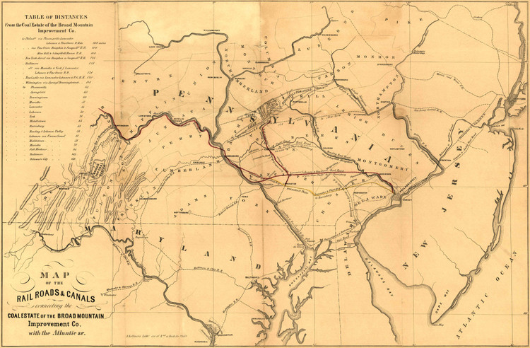 Historic Railroad Map of the Middle Atlantic States - 1850