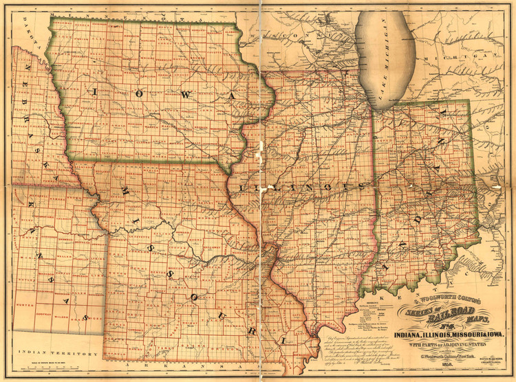Historic Railroad Map of the Midwest - 1858