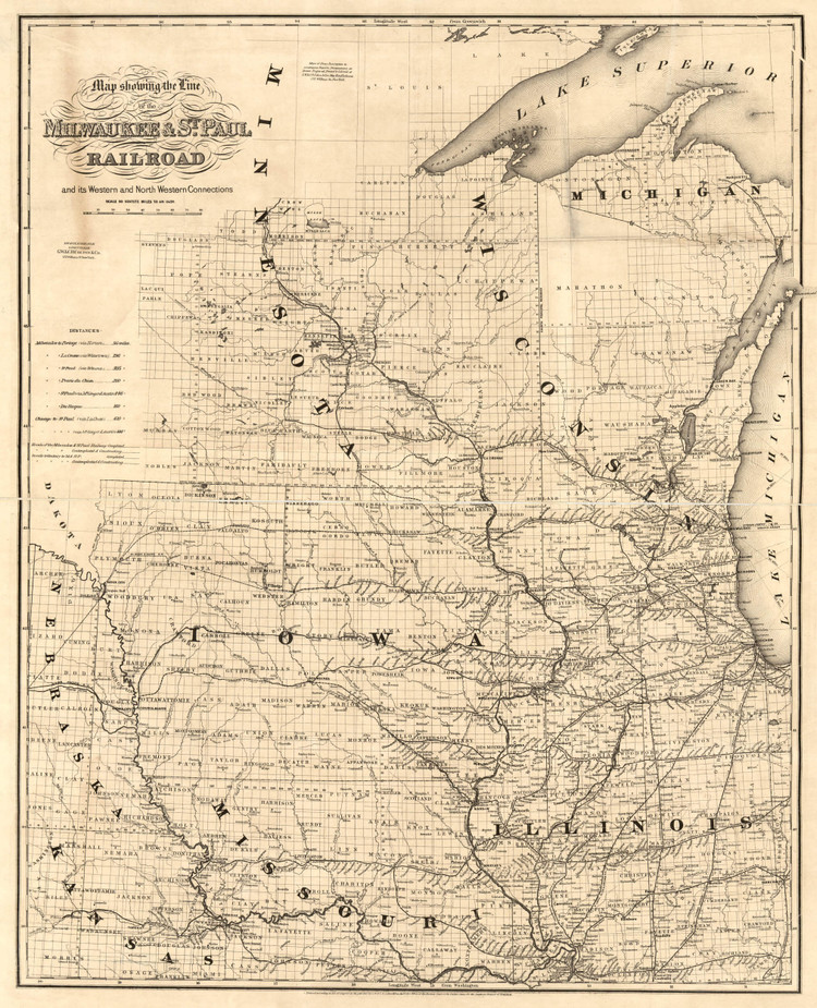 Historic Railroad Map of the Midwest - 1865