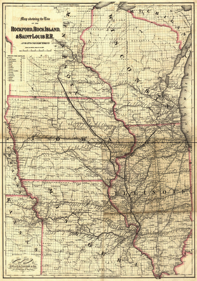 Historic Railroad Map of the Midwest - 1868