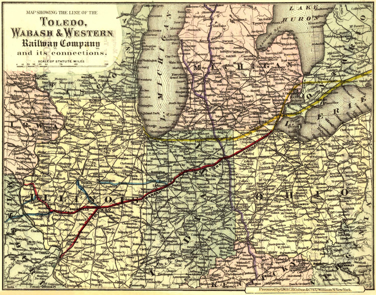 Historic Railroad Map of the Midwest - 1873