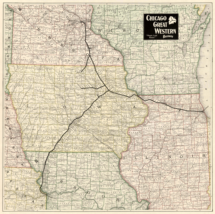 Historic Railroad Map of the Midwest - 1897