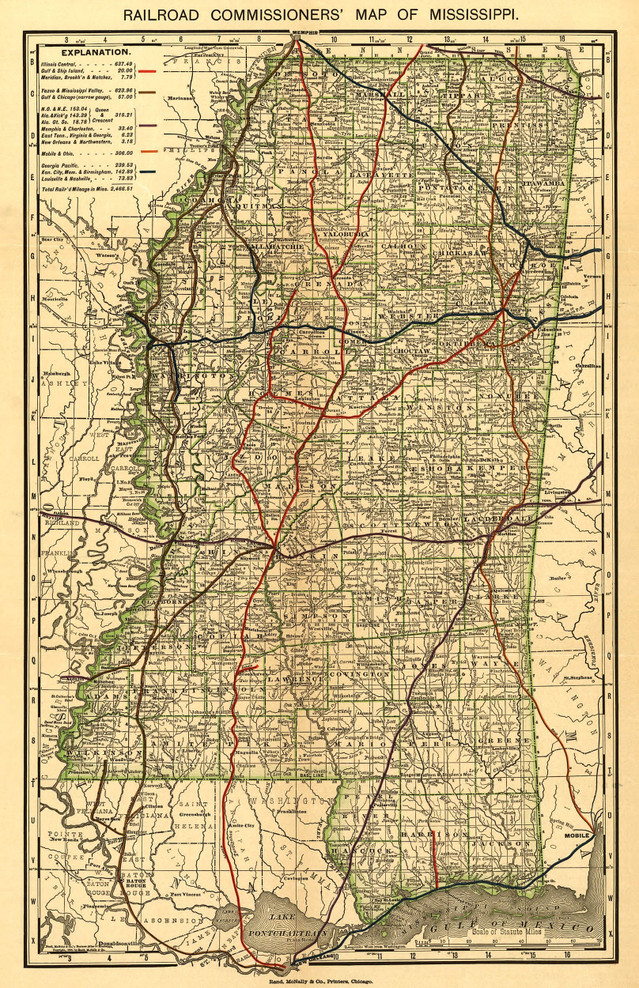 Historic Railroad Map of Mississippi - 1888