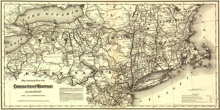 Historic Railroad Map of New England - 1871