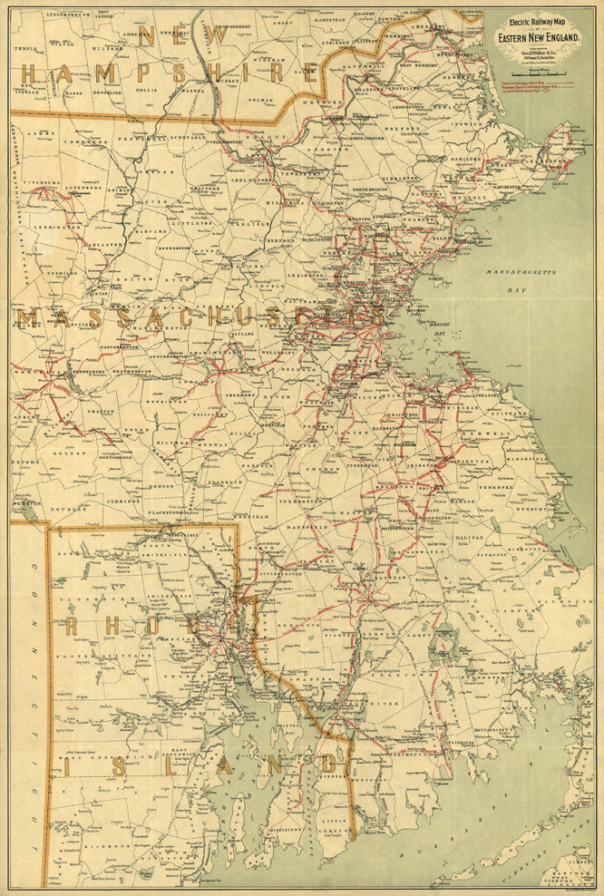 Historic Railroad Map of New England - 1898