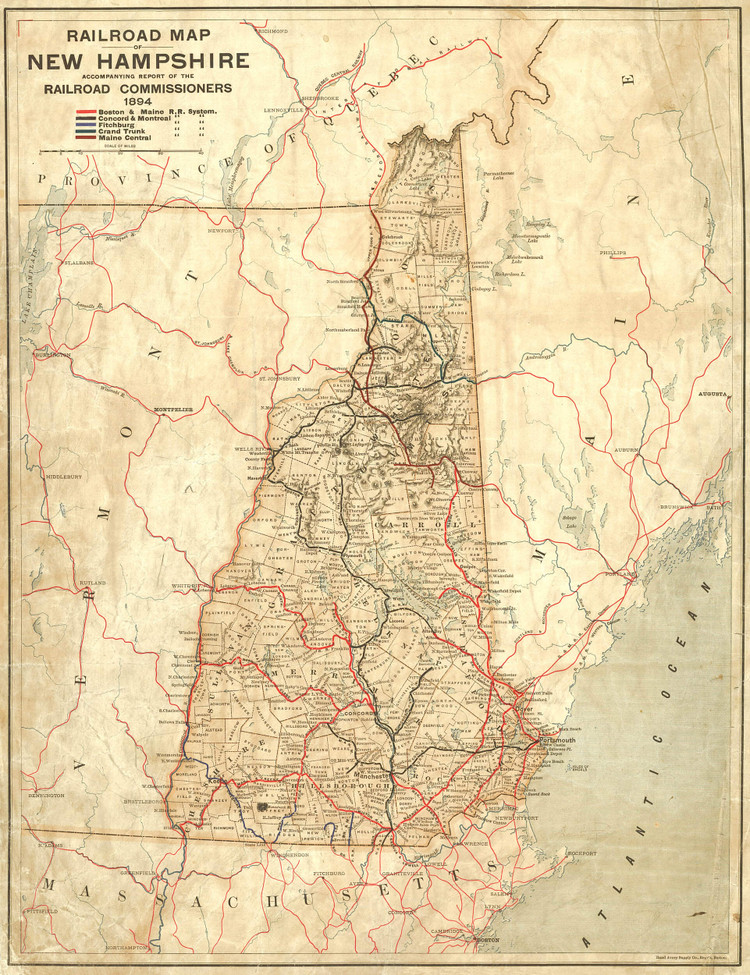 Historic Railroad Map of New Hampshire - 1894