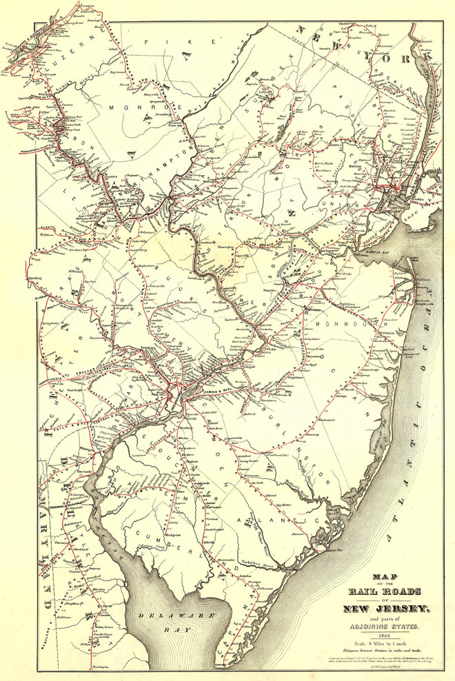 Historic Railroad Map of New Jersey - 1869