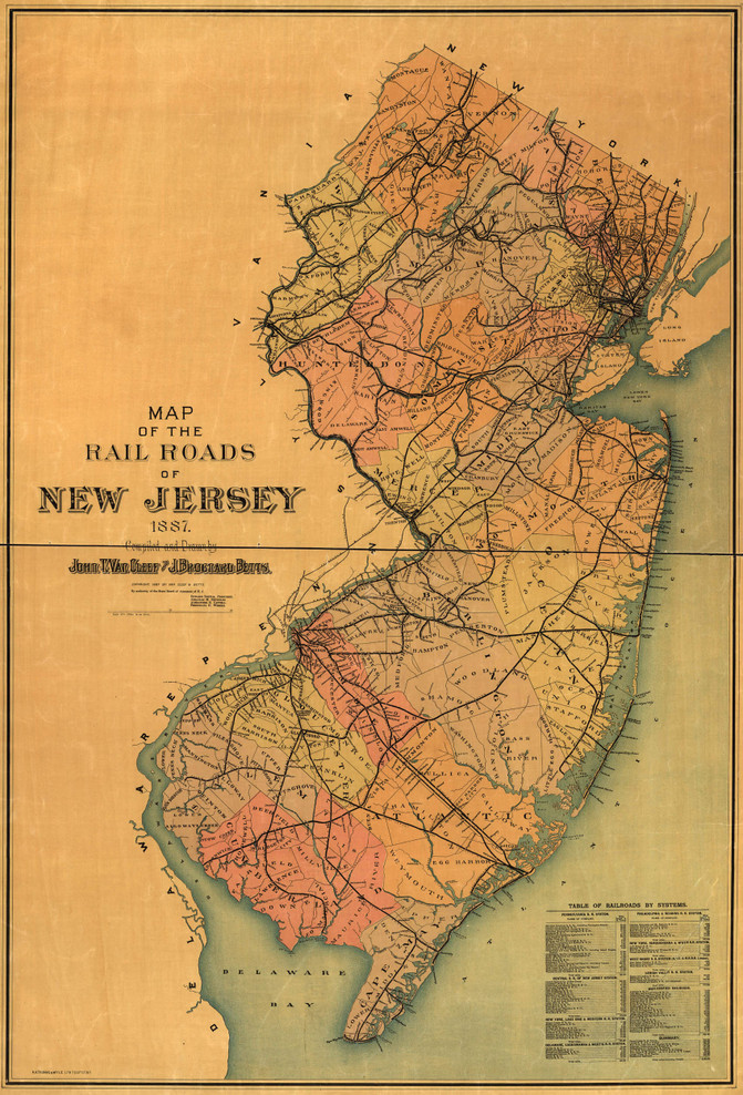 Historic Railroad Map of New Jersey - 1887