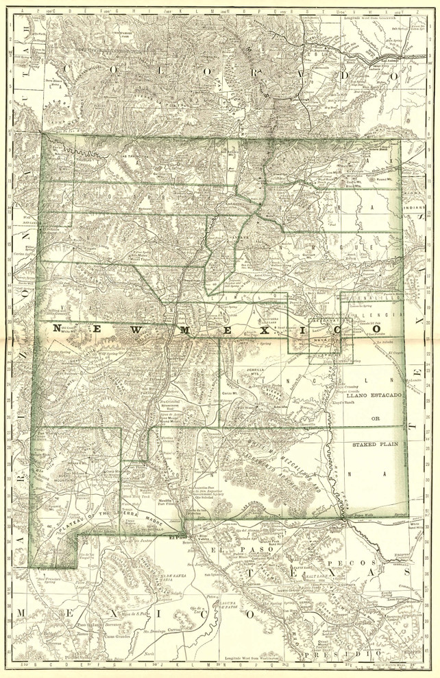 Historic Railroad Map of New Mexico - 1879