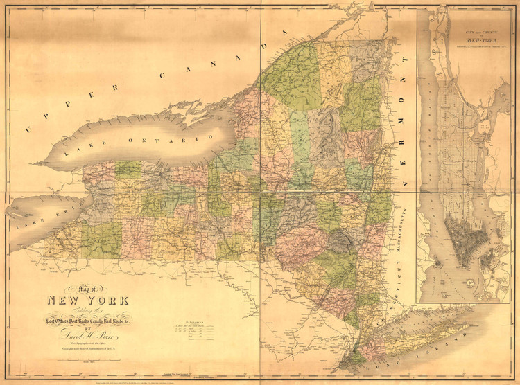 Historic Railroad Map of New York State - 1839