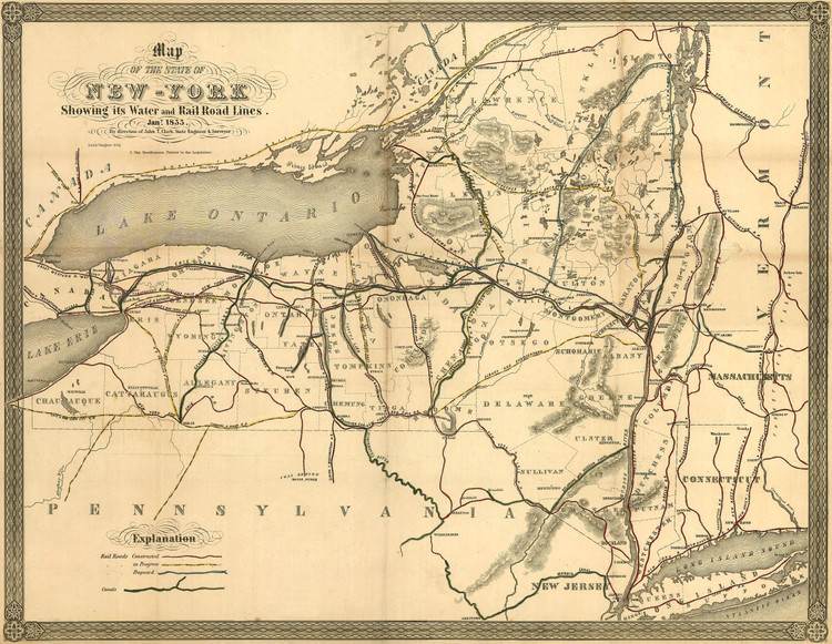 Historic Railroad Map of New York State - 1855