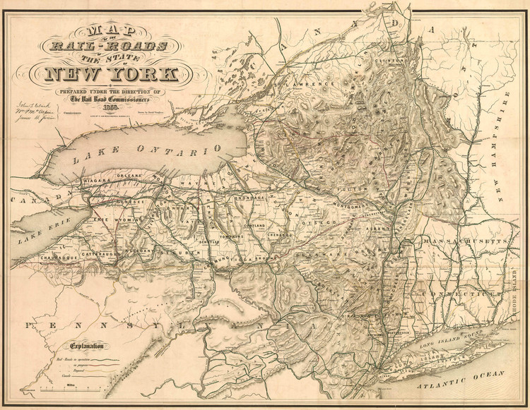 Historic Railroad Map of New York State - 1856