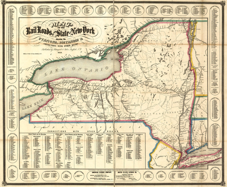 Historic Railroad Map of New York State - 1858