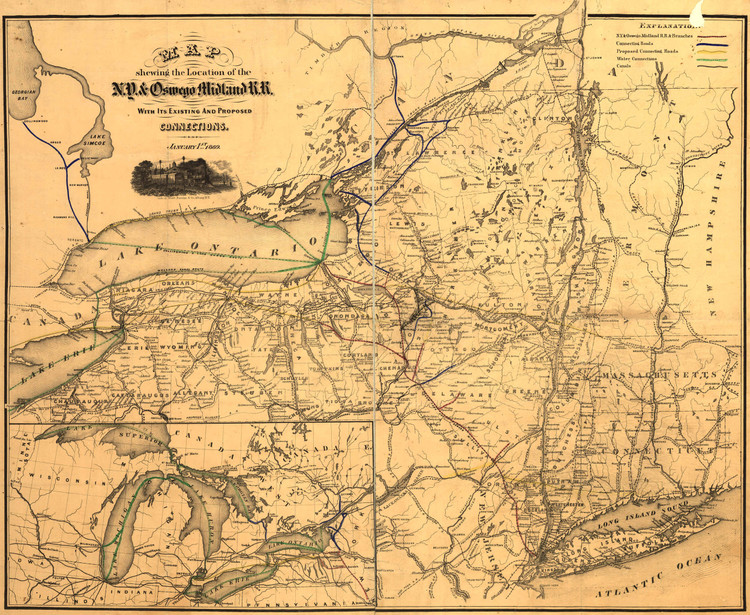 Historic Railroad Map of New York State - 1869