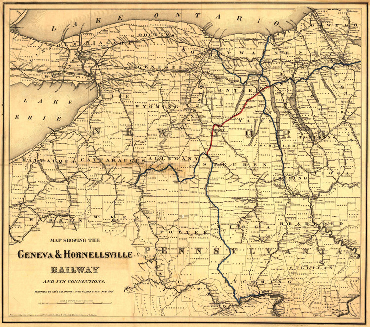 Historic Railroad Map of Western New York State - 1874