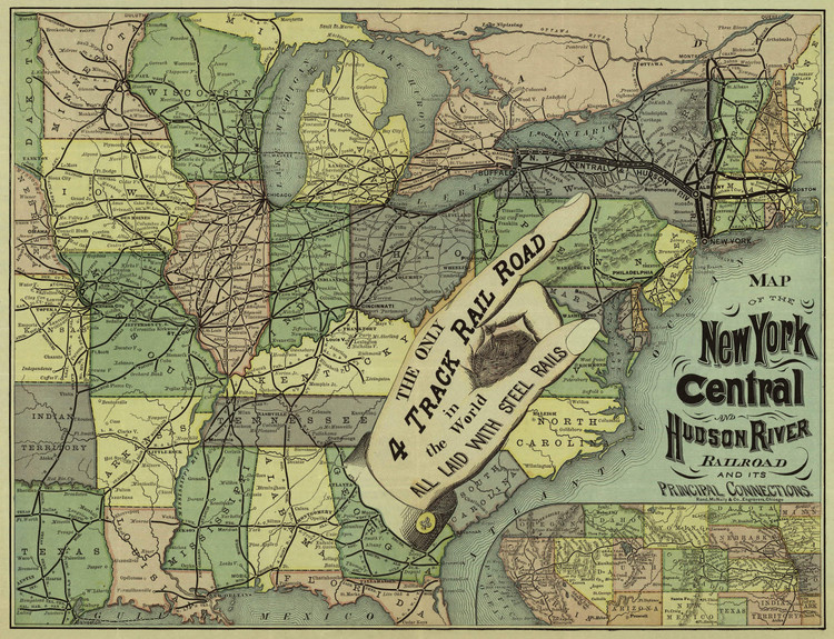 Historic Railroad Map of the New York Central Railroad - 1876