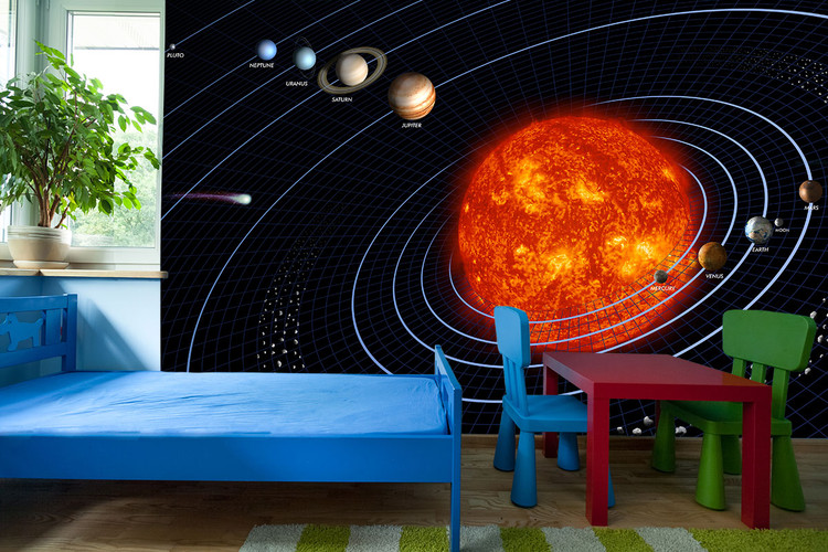Solar System Grid Space Wall Mural