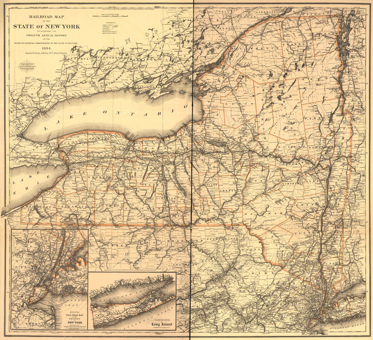 Historic Railroad Map of New York State - 1894