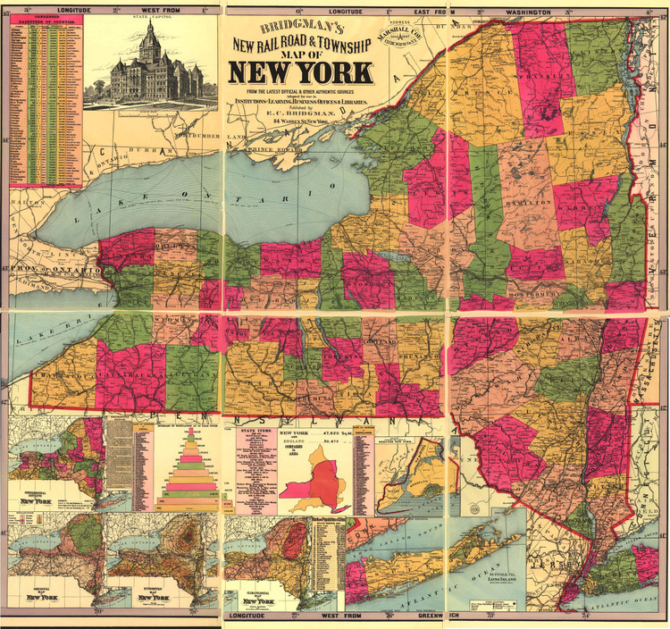 Historic Railroad Map of New York State - 1896