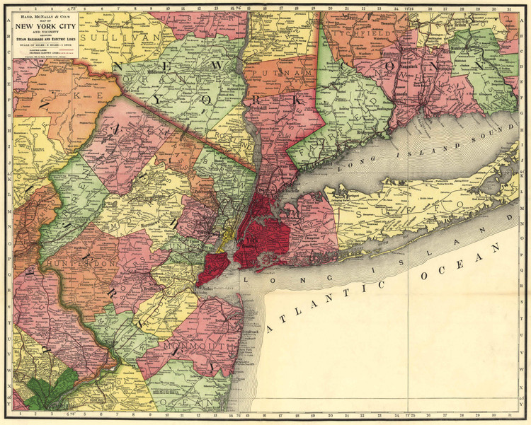 Historic Railroad Map of New York City and Vicinity - 1908