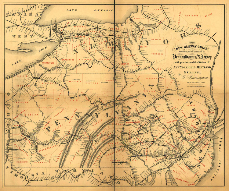 Historic Railroad Map of the Northeastern United States - 1863