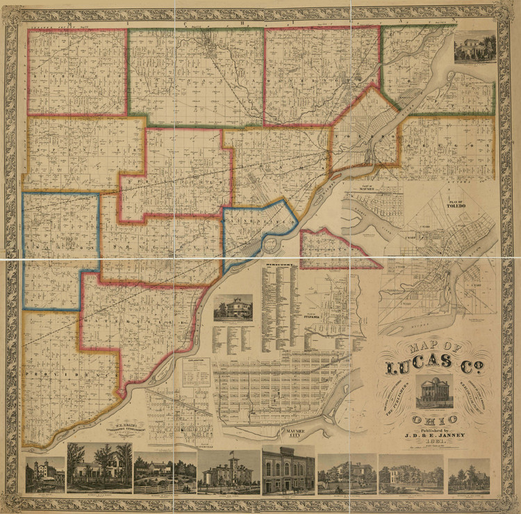 Historic Railroad Map of Lucas County, OH - 1861