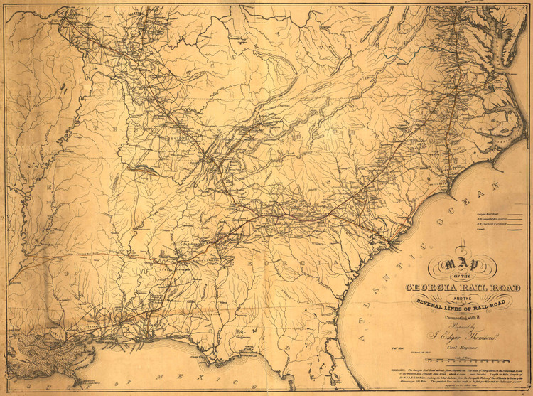 Historic Railroad Map of the Southern United States - 1839