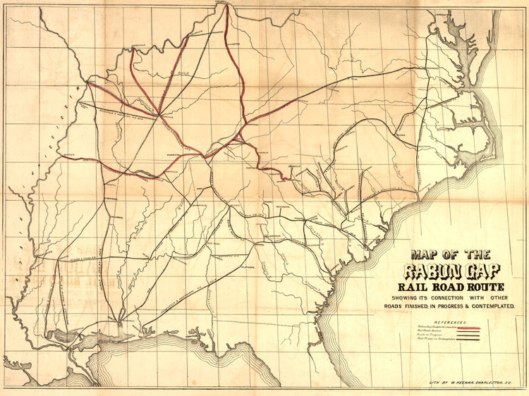 Historic Railroad Map of the Southern United States - 1850