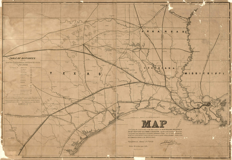 Historic Railroad Map of the Southern United States - 1859
