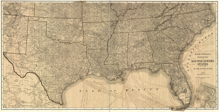 Historic Railroad Map of the Southeast United States - 1923