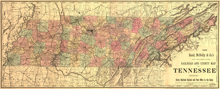 Historic Railroad Map of Tennessee - 1888