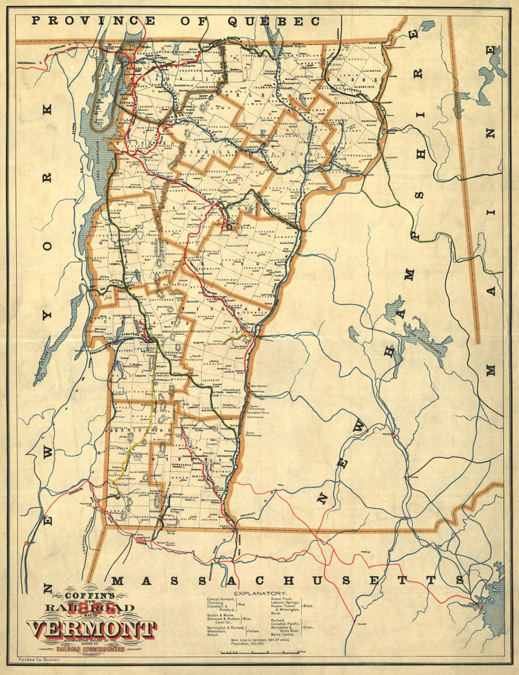 Historic Railroad Map of Vermont - 1896