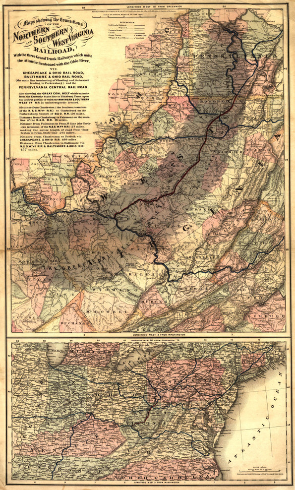 Historic Railroad Map of West Virginia - 1873