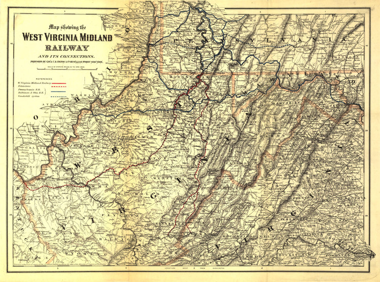 Historic Railroad Map of West Virginia - 1883